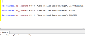 adding the error message to the event viewer through t-sql